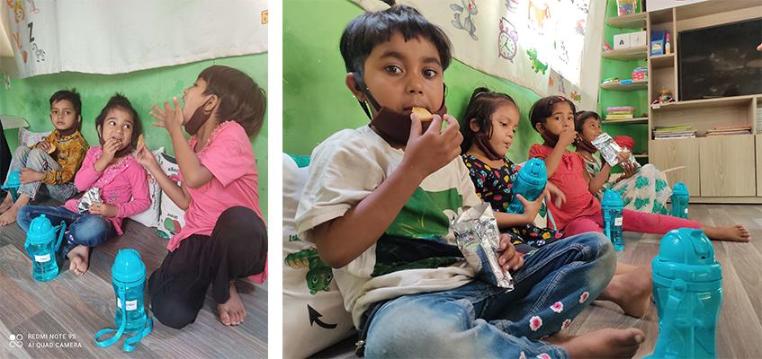 ユーグレナクッキーを食べる子どもたち