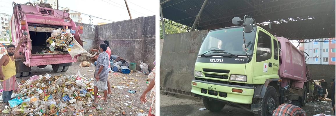 集積所から最終処分所へ廃棄物を運搬するJICA提供のトラック