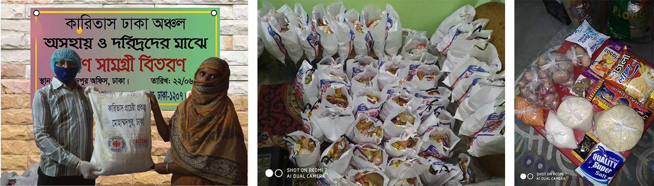 米、豆、塩、じゃがいも、石鹸などの生活必需品セットを配布